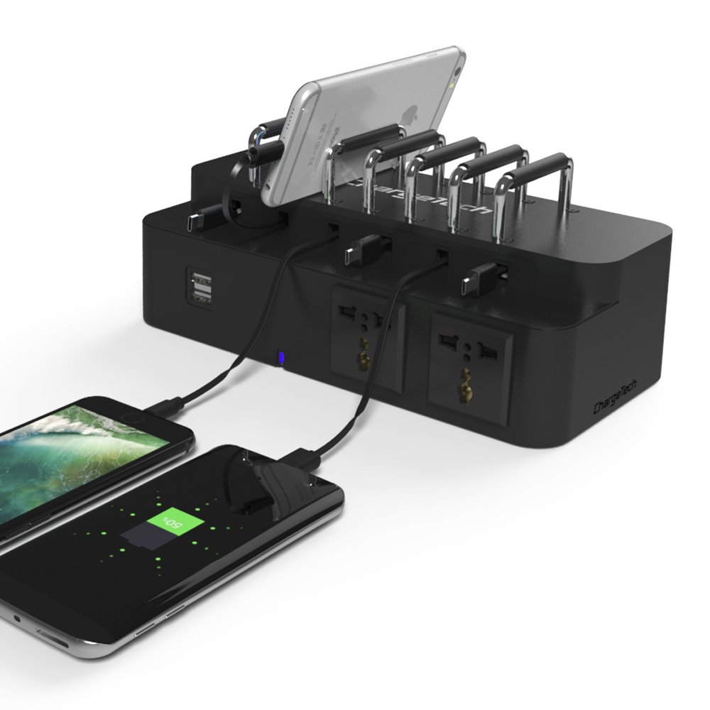 Cell Phone & Laptop Dock Desktop Charging Station w/ 8 Universal Charging Tips Included for Multiple Devices: iPhone, iPad, Samsung Galaxy, Tab - Fast Charge Rapid Charging (Model: CS8) by ChargeTech