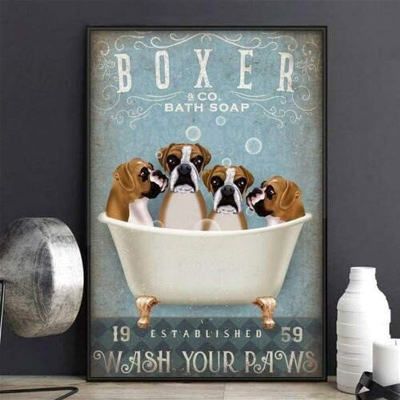 NATVVA Wall Art Boxer Dog Bath Posters Soap Wash Your Paws Funny Canvas Prints Painting Modern Wall Decor Art Picture Gifts Artwork Home Decor for Living Room No Frame