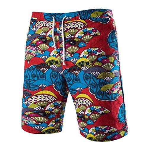 Hot Short Pants!Elevin(TM)2017 Men Retro Summer Beach Casual Print Drawstring Five Cents Trousers Pants (M, Light Blue)