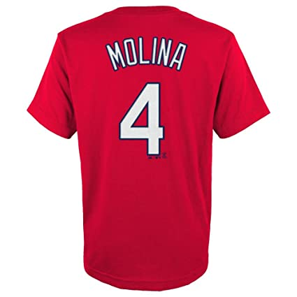 2559906eef02 Majestic Yadier Molina St. Louis Cardinals Red Youth Jersey Name and Number  T-shirt