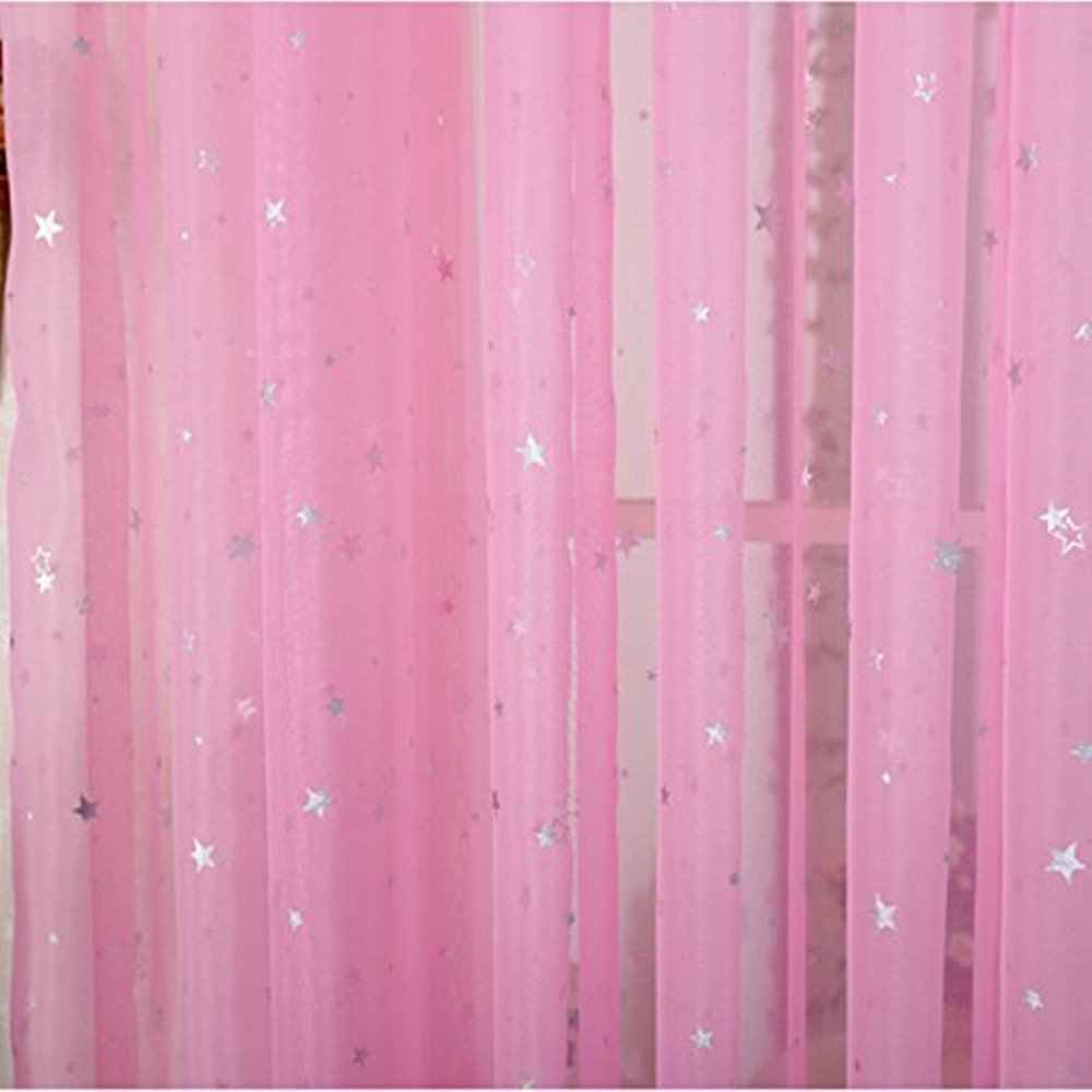 AiFish 2 Pieces Sheer Window Panel Curtains Short Voile Curtains Shiny Star Pattern Window Drape Panels Rod Pocket Tulle Gauze Curtais for Patio/Villa/Parlor/Salon 1 Pair Hot Pink W39 x L47 inch