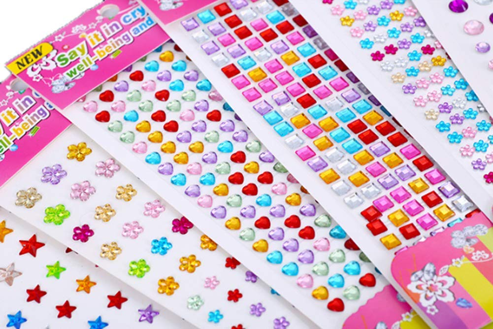 Flatback Rhinestone for DIY Crafts Decoration 14pcs Self-Adhesive Rhinestone Sticker Sheets Assorted Colors Various Shapes Craft Jewels Stick-on Crystal Gem Sheets