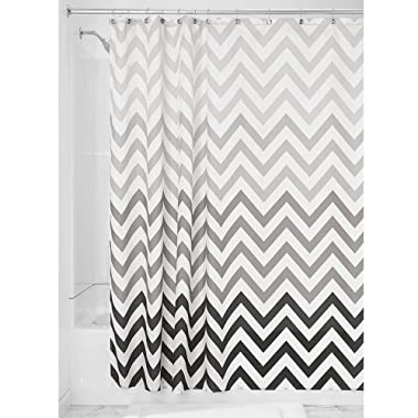 iDesign InterDesign Fabric Chevron Shower Curtain for Master, Guest, Kids', College Dorm Bathroom, 72  x 72 , Gray Ombre,