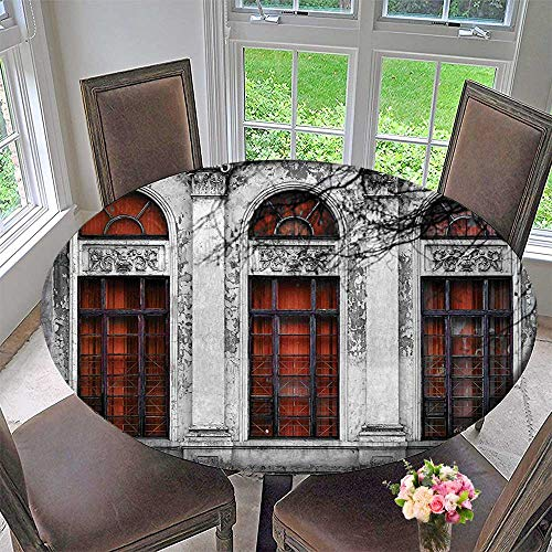 Mikihome Round Table Tablecloth Facade of Old Abandon Historical Building with Arched Large Window Heritage Art Grey for Wedding Restaurant Party 59