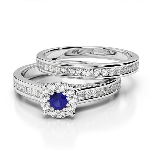 Oro rosa/oro blanco/oro amarillo/Platinum Sapphire & Diamond Juego de Anillos
