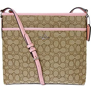 70fb05c89861 NEW Coach F58285 Signature File Bag Crossbody Handbag Khaki Strawberry