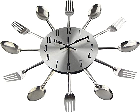 LY-CYC Reloj de Pared de la Cocina, diseño Creativo Moderno cubertería Cuchara Tenedor Pared Reloj casero Cocina 11 Pulgadas decoración Reloj: Amazon.es: Hogar