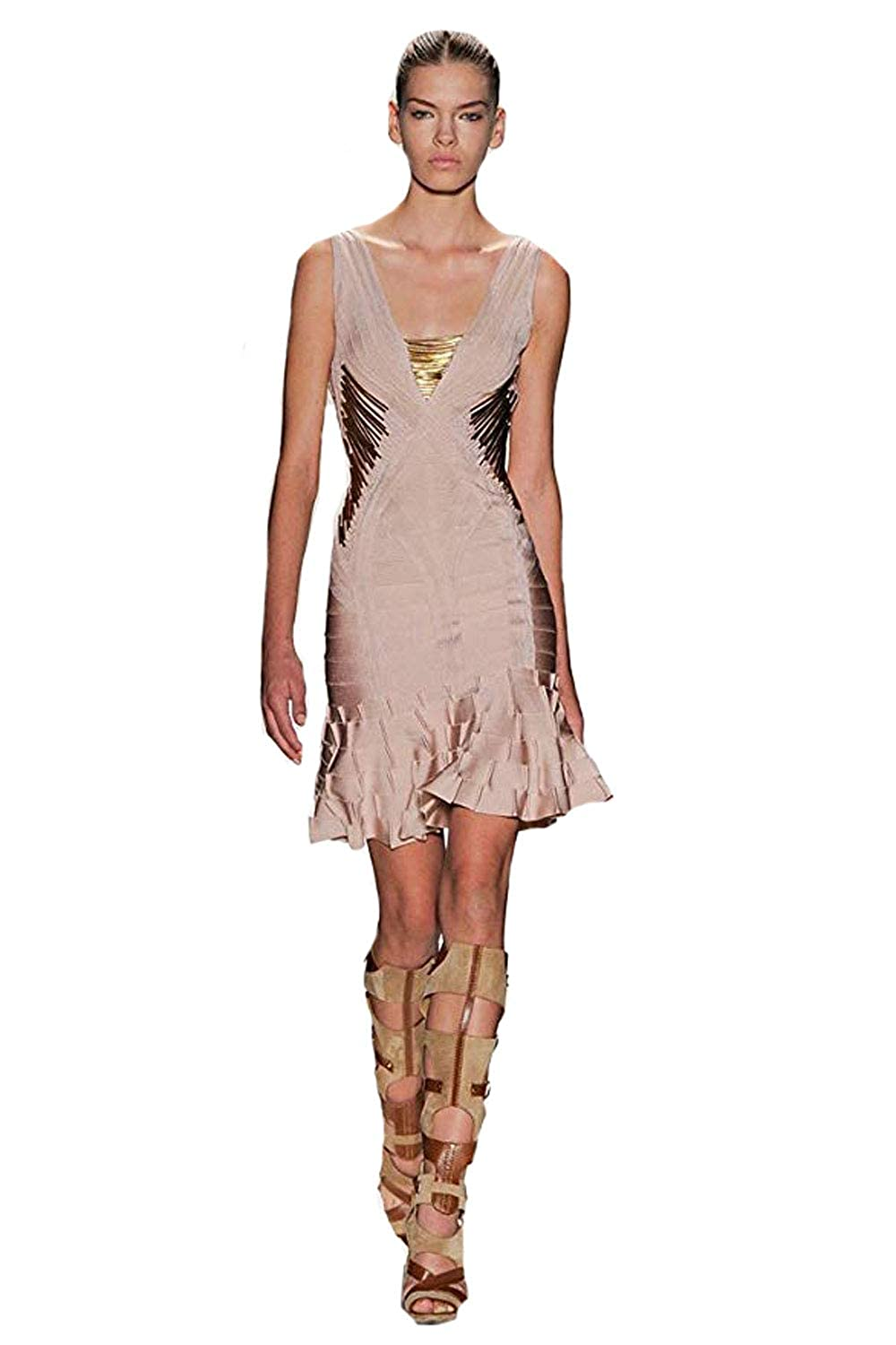 9ebaee7ffbe6 Herve Leger Gold Metal Nude Flared Bandage Dress at Amazon Women s Clothing  store