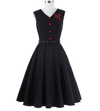 Trendy-Nicer Vintage Robe Femme 50s Rockabilly Sexy Black Sleeveless Vestidos Mujer Pin up,