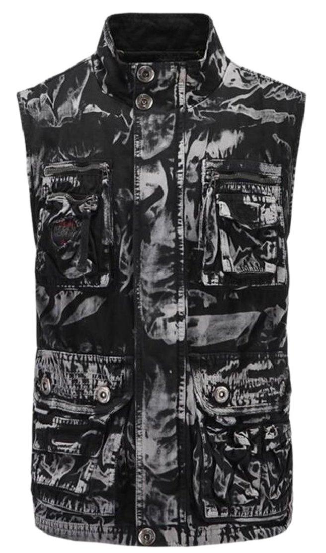 M&S&W Men Sleeveless Camo Printed Multi-Pocket Outdoor Wash Cargo Waistcoat 1 M