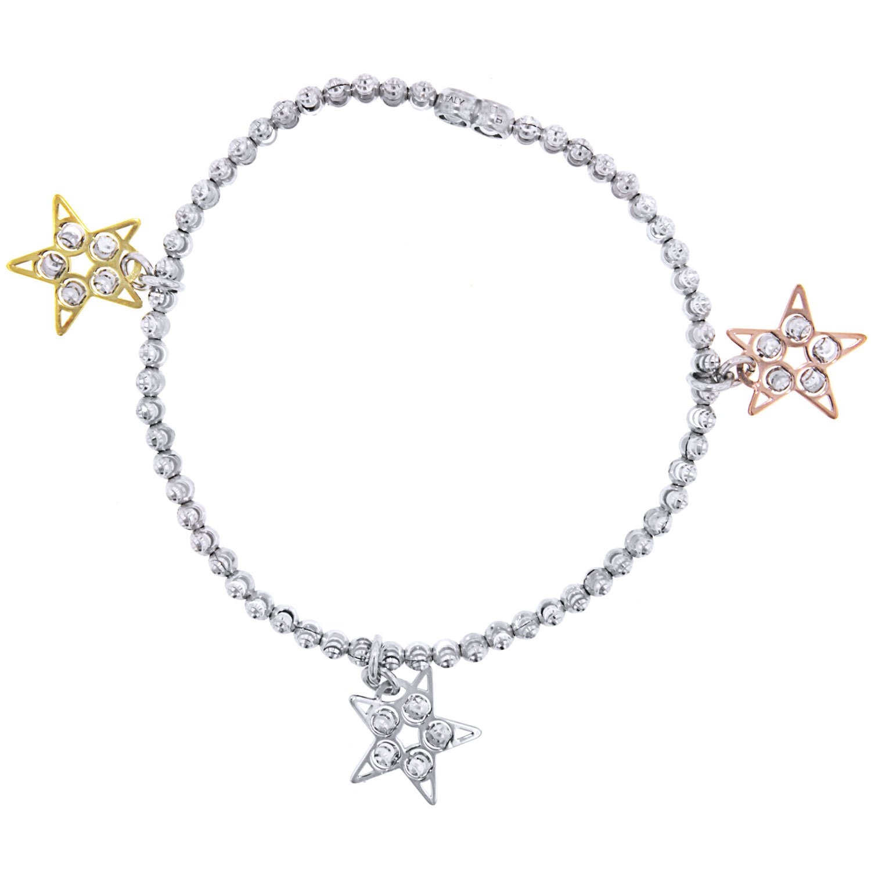 Officina Bernardi Sterling Silver Star Charm Stretch Bracelet, 7''