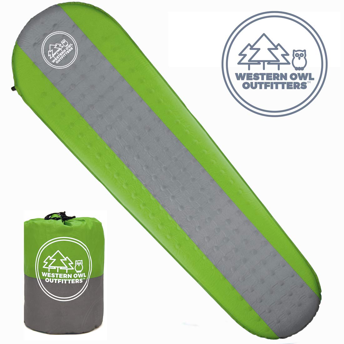 Best Self Inflating Sleeping pad Lightweight Camping Foam pad- Best for Camping Backpacking & Hiking. R Value of 4.9 - Inflatable Camping Mattress (Green, Large) by Roman Trail Outfitters