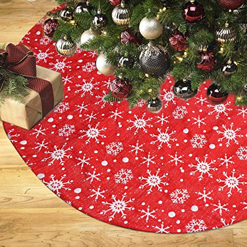 ENTHUR Christmas Tree Skirt, 48 inches Double Layers with Snowflakes Pattern Decor, Christmas Tree Mat for Xmas Tree Holiday Decorations Red (Silver Xmas And Tree Red)