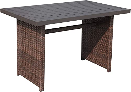 Patiorama Outdoor Dining Table, Brown Wicker Rectangular Coffee Table with Aluminum Table Top, Steel Frame