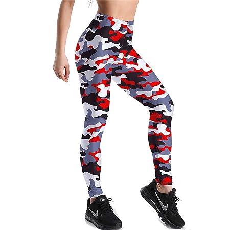 Leggins Desportivos Pantalones Yoga Mujer, Moda mujer patrón de camuflaje elástico capri control de la barriga leggings deportivos flaco Correr ...