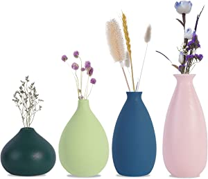 CERANEE Small Ceramic Flower Vases Set of 4, Colorful Bud Vase for Home Decor, Matte Green Blue Pink Yellow
