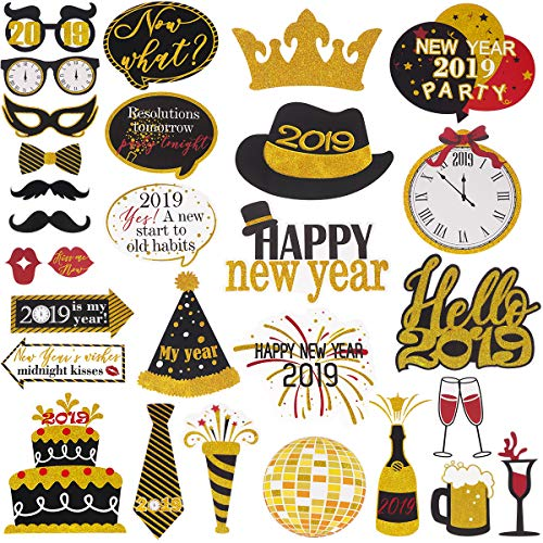 LUOEM 2019 New Year's Photo Booth Props Kit Funny New Year Party Props with Bamboo Sticks Glitter Photo Booth Props for New Years Eve Party Decoration Supplies - 29 Count ()