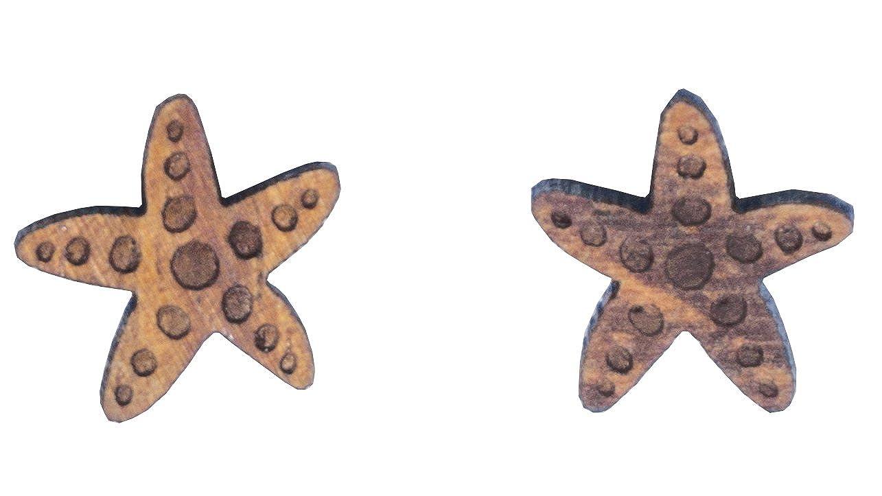 Koa Wood Starfish Stud Earrings