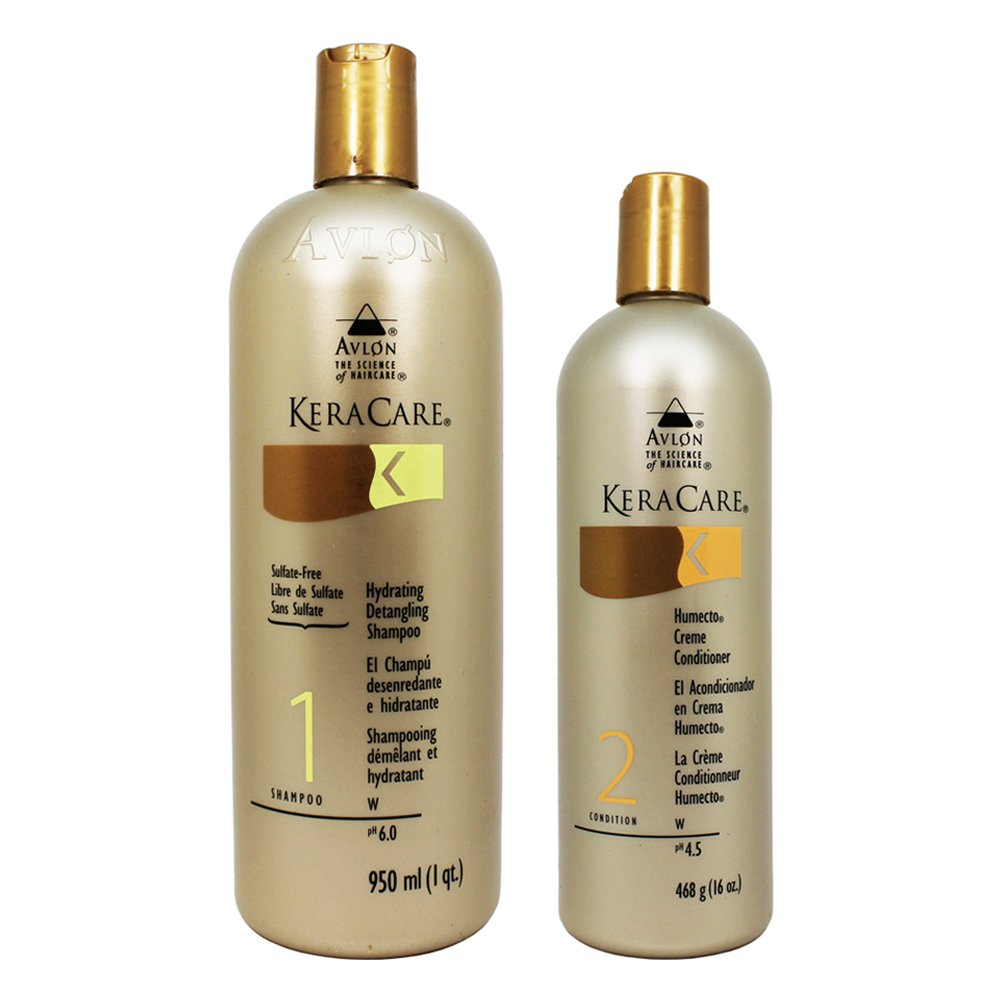 Avlon Keracare Sulfate Free Hydrating Shampoo and Humecto Creme Conditioner, 2 Count
