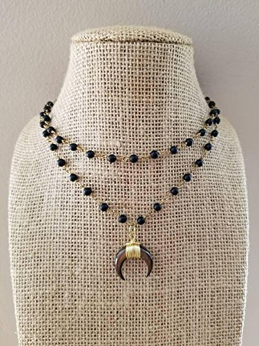Small Crescent Horn Rosary Chain Beaded Choker Necklace Double Strand Black Onyx Stones Gold Chain Double Horn