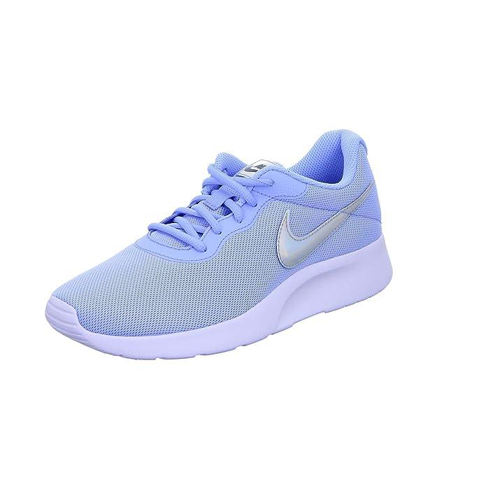 Nike Tanjun Damen Sneaker Laufschuhe Blau mit Silbernem Streifen (Aluminum)