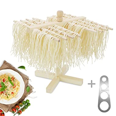 Lanting Pasta Drying Rack with Stainless Steel Pasta Ruler Measurer,Spaghetti/Pasta Collapsible Wood Hanger Tree or Household Noodle Dryer Stander for DIY Making Pasta Maker Noodles