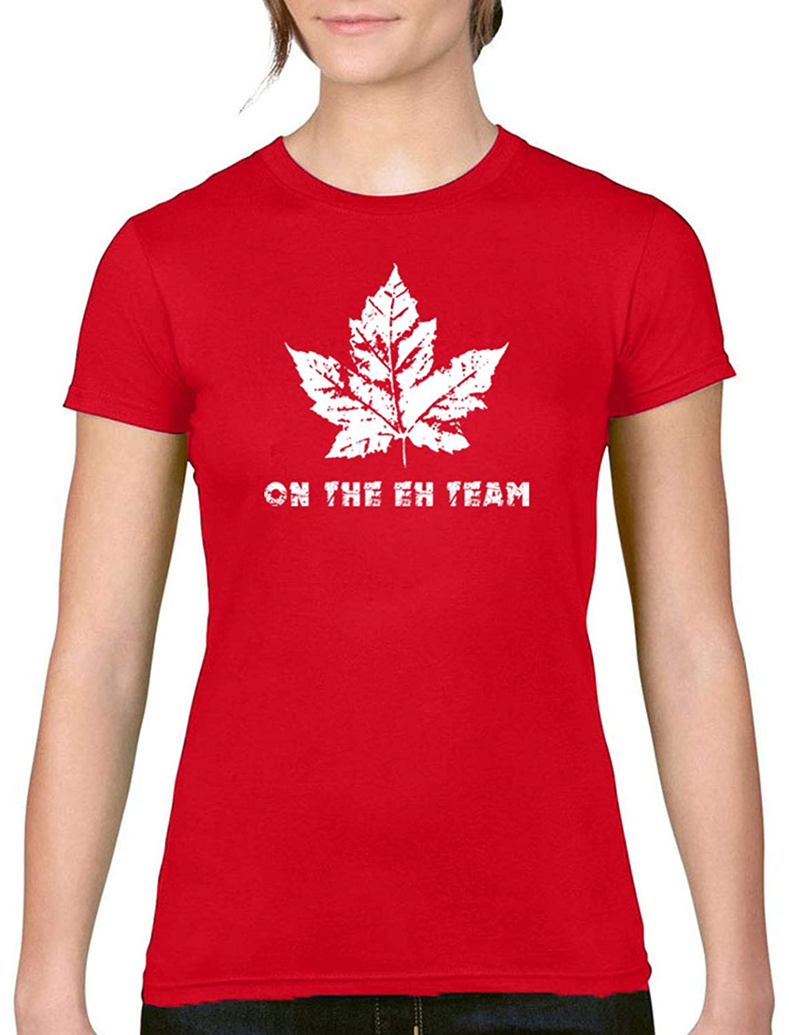 8428c11afcbd Witty Fashions On The Eh Team Canada Day Canadian Red Women's Round Neck  Shirt: Amazon.ca: Clothing & Accessories