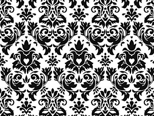 (Knit Black damask on white background Design Fabric by the Yard, 95% Cotton, 5% Lycra, 60 Inches Wide, great quality, medium weight, 4 way stretch (4)