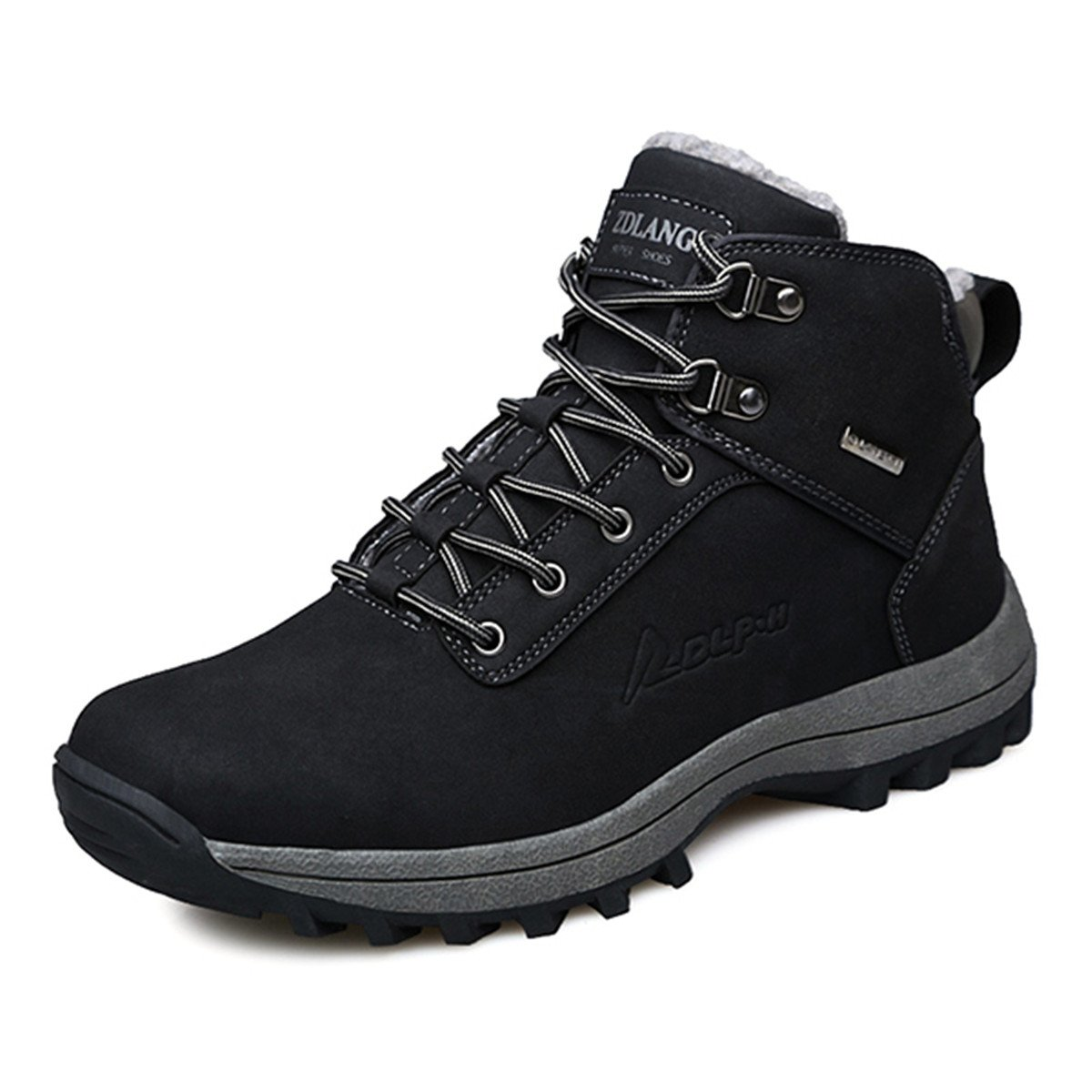 graocsy Men's Work Boots, Leather Snow Boots with Warm Lined Waterproof Winter Ankle Shoes Black 10.5 M US