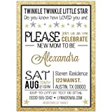 Gold Twinkle Twinkle Little Star Baby Shower Party Invitations