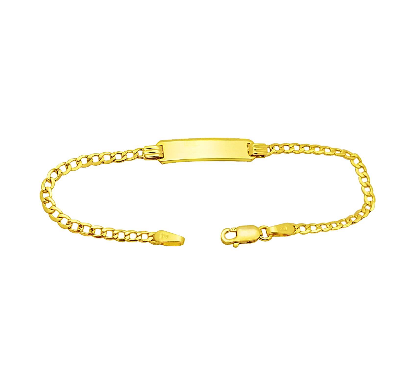 AMZ Jewelry Babies 10k Yellow Gold Cuban Link ID Bracelet 5.5 in