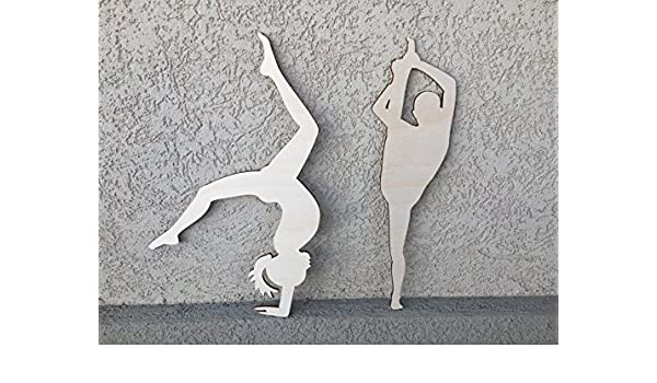Gymnastic Figures Plywood Craft Cut Out Ideal for Colouring In
