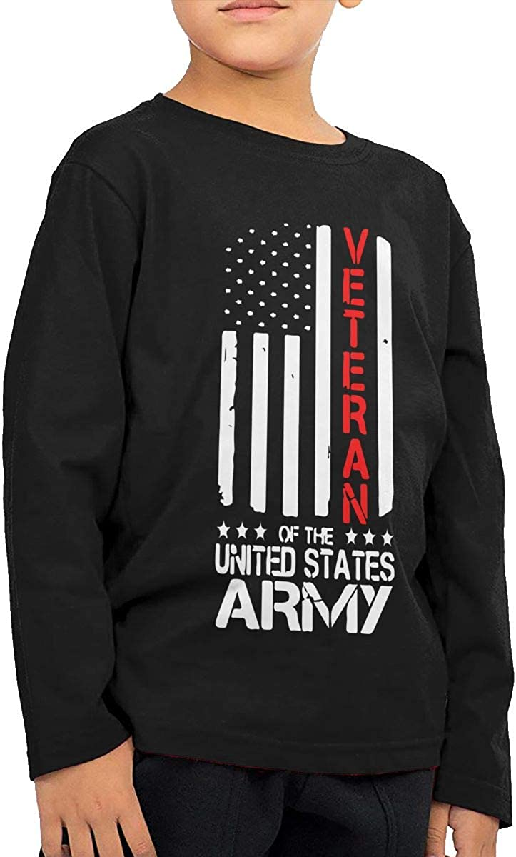 Army Veterans Red Line ComfortSoft Long Sleeve Tee Baby Girls Kids U.S
