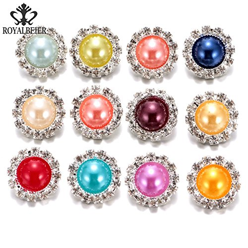 12pcs/lot Multi Color Rhinestone Charms Imitation Pearl Button 18mm Ginger Snap Button For 20mm Snap Bracelet Snap Jewelry KZH0003 (KZH0003) (Rhinestones Charms Pearl)