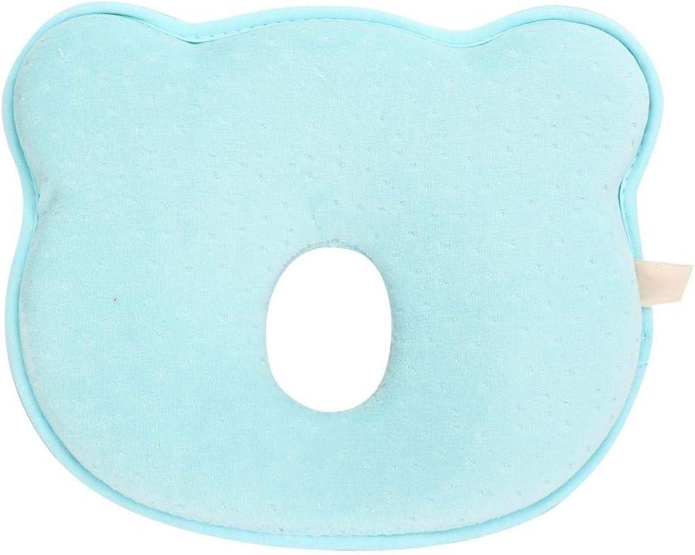 Almohada infantil recién nacida, almohada de apoyo para bebés almohada para dormir almohada de forma suave para bebés prevenir cabeza plana(Azul)