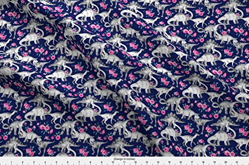 Spoonflower Dinosaurs Fabric - Dinosaurs Painted Watercolor Kids Dino Stegosaurus Roses - by Micklyn Printed on Basic Cotton Ultra Fabric by The Yard from Spoonflower
