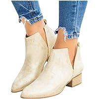 BIKETAFUWY Women's Snakeskin Boots, Leather Short Shoes Chunky Heels Slip On V Cutout Round Toe Boots