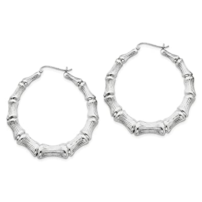 4260052f6 Image Unavailable. Image not available for. Color: Sterling Silver Bamboo  Hoop Earrings ...