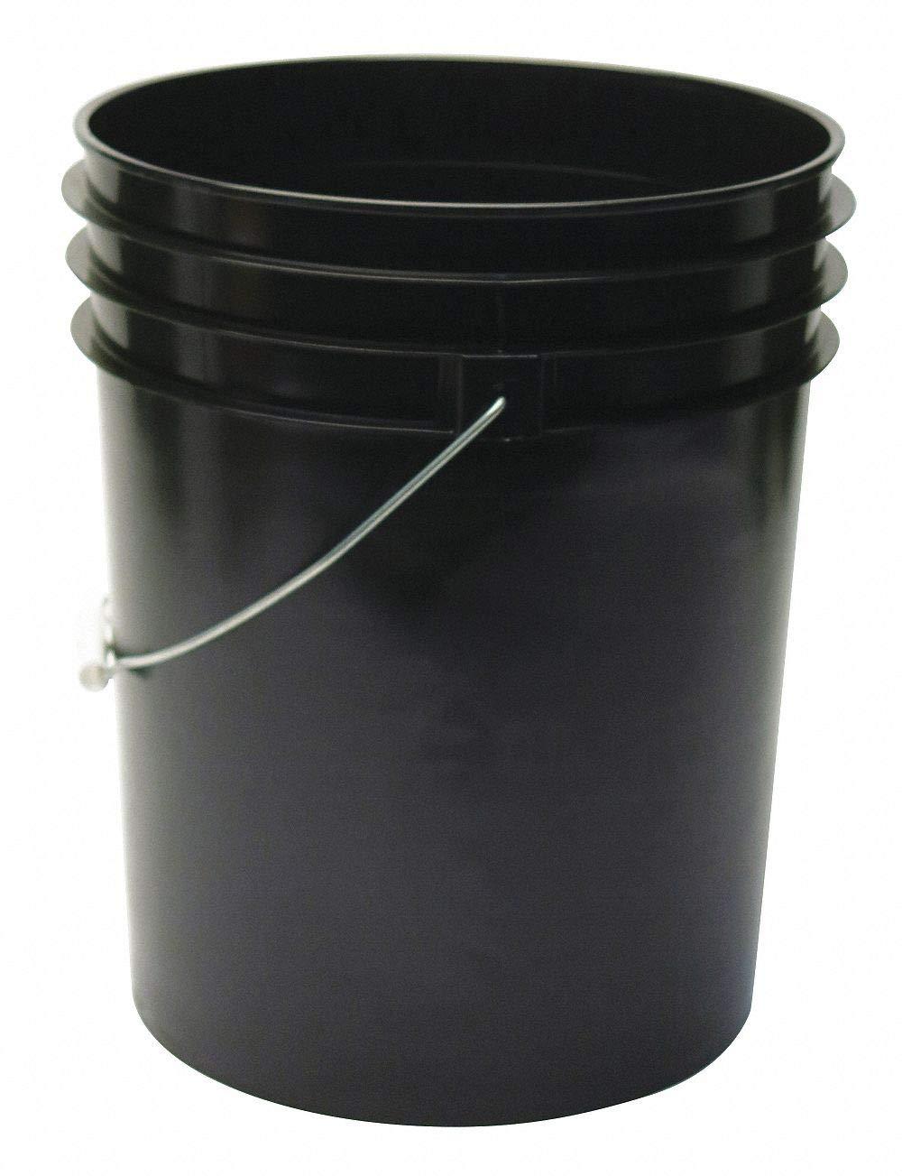 5.0 gal. High Density Polyethylene Round Pail, Black pack of 5