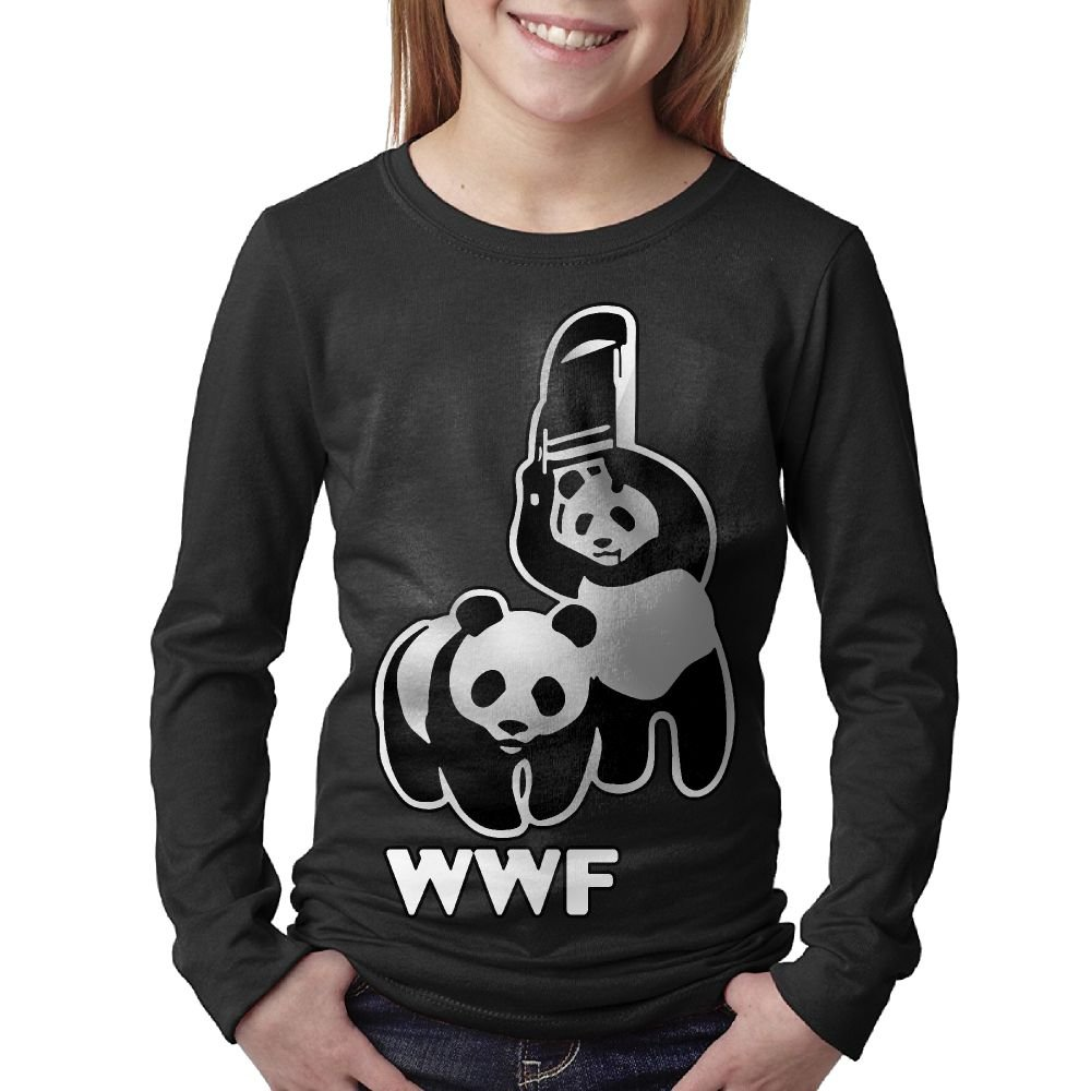Boy's Or Girl's WWF Funny Panda Bear Wrestling Cotton Long Sleeve T-Shirt by WIZOLHb