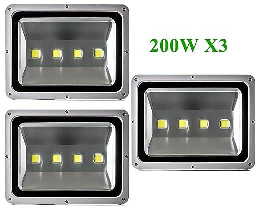 Greenmigo 3pcs Foco Proyector LED 200W Para Exteriores,Blanco Frio ...