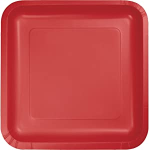 18-Count Touch of Color Square Paper Dinner Plates, Classic Red