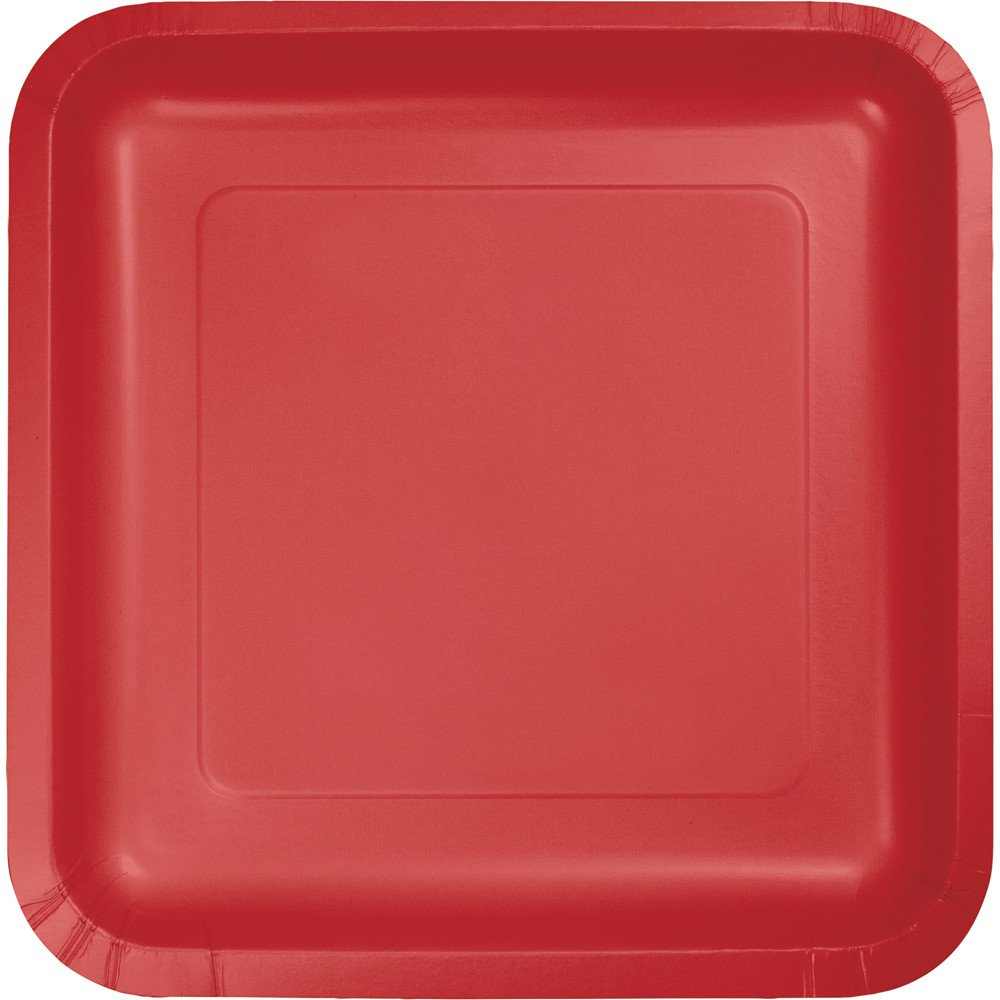 Amazon.com 18-Count Touch of Color Square Paper Dinner Plates Classic Red Kitchen \u0026 Dining & Amazon.com: 18-Count Touch of Color Square Paper Dinner Plates ...