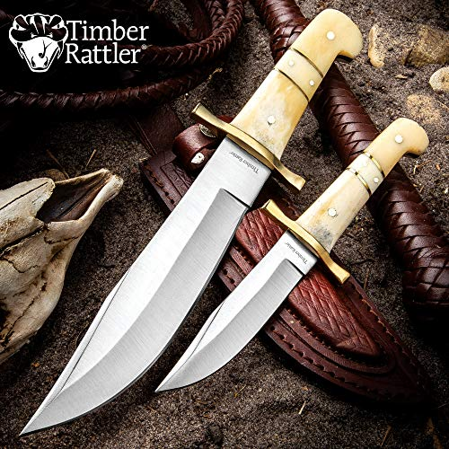 (Timber Rattler Camel Bone Bowie Knife - Two-Knife Set with Leather Twin Sheath)