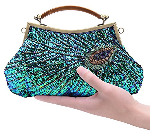 Pulama Woman Handbag Beaded Clutch PEACOCK SEQUINS Purse/Wallet/Evening Bag, Handmade for Wedding Party (Classic)