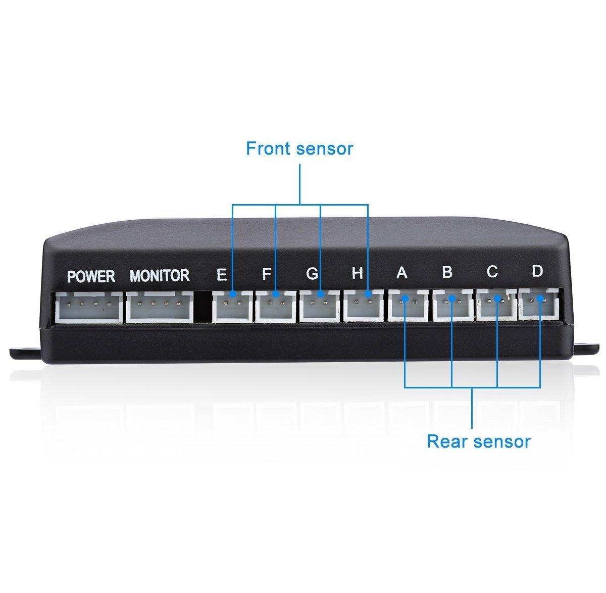 Syst/ème de radar de recul avec /écran LED pour stationnement Noir Kit daffichage LED avec 8/capteurs de stationnement dont 4 avant et 4/arri/ère 4/