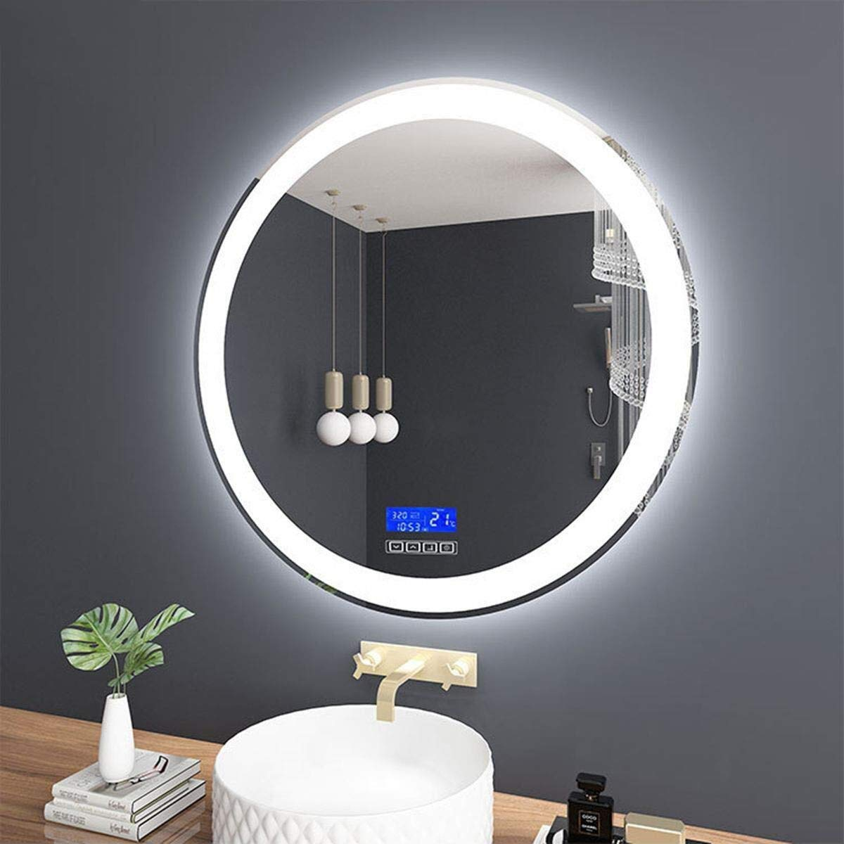 Beauty mirror LED Bathroom Mirror Wall Illuminated Bathroom Mirror White Warm Light Round Anti-fogging Washroom Toilet Makeup Mirror with Touch Switch Dressing mirror (Color : B, Size : 50CM) by Makeup Mirrors