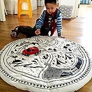 EITC Baby Play Mat Padded Crawling Blanket Cotton Round Racing Games Carpet Kids