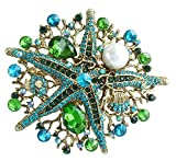 Sindary 3.15'' Starfish Brooch Pin Austrian Crystal Pendant BZ6412 (Gold-Tone Green)