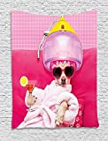 asddcdfdd Funny Tapestry, Chihuahua Dog Relaxing and Lying in Wellness Spa Fashion Puppy Comic Print, Wall Hanging for Bedroom Living Room Dorm, 60 W X 80 L Inches, Magenta Baby Pink